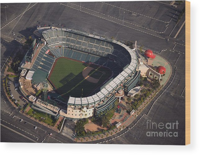 American League Baseball Wood Print featuring the photograph Texas Rangers V Los Angeles Angels Of by Mlb Photos
