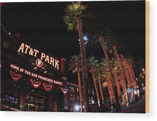 Game Two Wood Print featuring the photograph Texas Rangers V San Francisco Giants by Christian Petersen