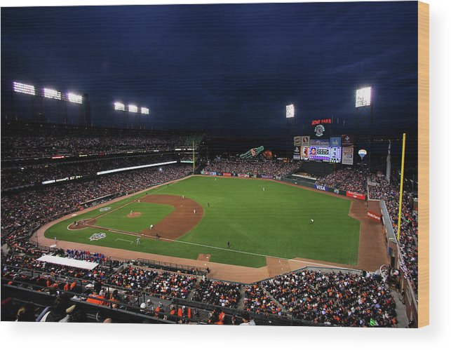 American League Baseball Wood Print featuring the photograph Texas Rangers V San Francisco Giants by Doug Pensinger