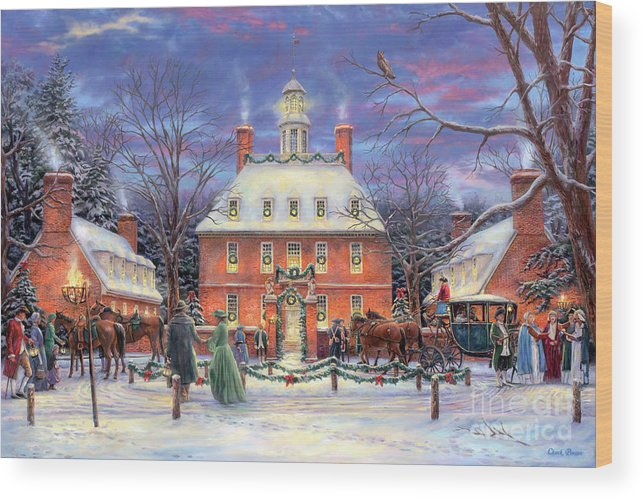 Williamsburg Wood Print featuring the painting The Governor's Party by Chuck Pinson