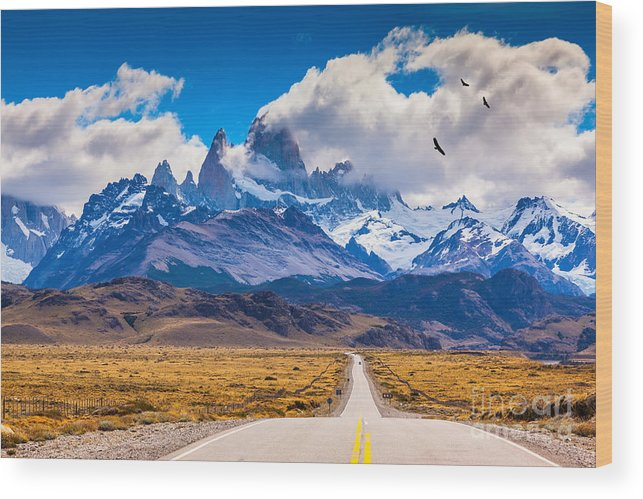 Flock Wood Print featuring the photograph The Highway Crosses The Patagonia And by Kavram