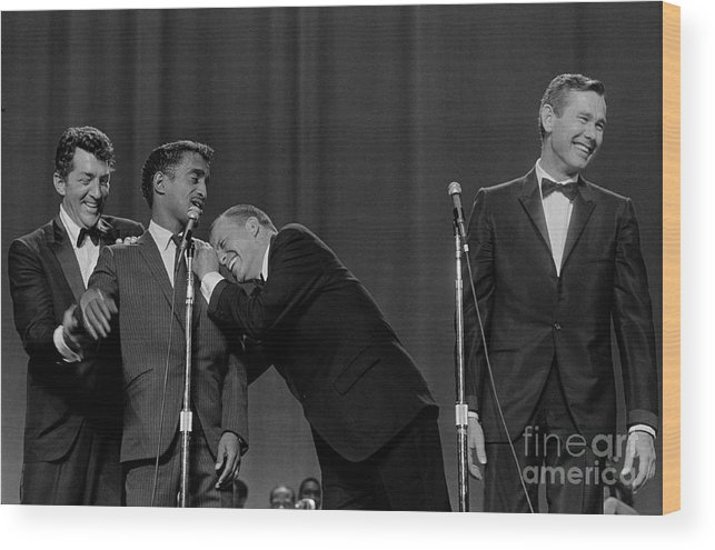 Singer Wood Print featuring the photograph The Rat Pack Perform With Carson by Cbs Photo Archive