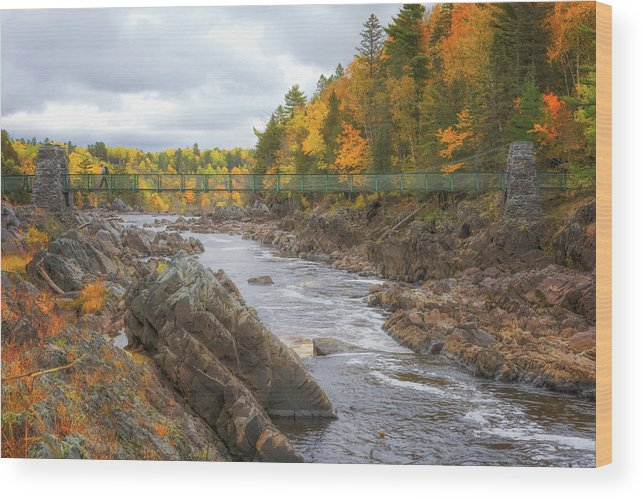 Autumn Wood Print featuring the photograph The Swinging Bridge at Jay Cooke by Susan Rissi Tregoning