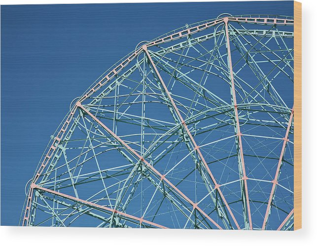 Built Structure Wood Print featuring the photograph The Top Of A Ferris Wheel, Low Angle by Frederick Bass