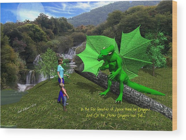 Wood Print featuring the digital art There Be Dragons by Bob Shimer