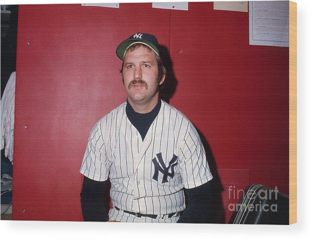 Thurman Munson Wood Print featuring the photograph Thurman Munson by Bettmann