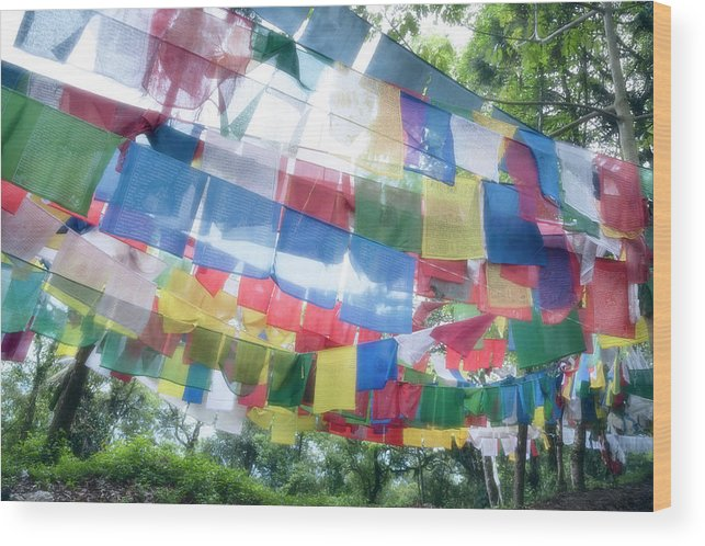 Hanging Wood Print featuring the photograph Tibetan Buddhist Prayer Flags by Glen Allison