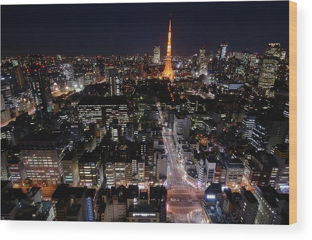 Tokyo Tower Wood Print featuring the photograph Tokyo At Night by Sugimoto Yasuaki