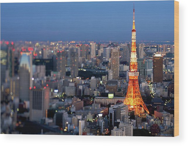 Tokyo Tower Wood Print featuring the photograph Tokyo Tower by Vladimir Zakharov