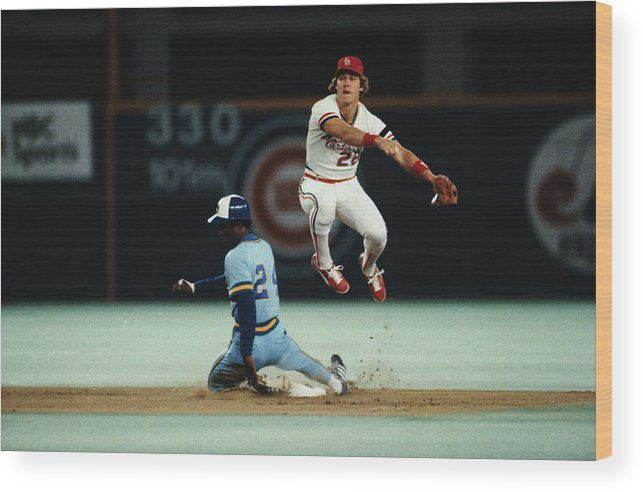 St. Louis Cardinals Wood Print featuring the photograph Tommy Herr Making Double Play by Bettmann