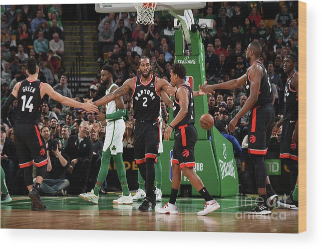 Nba Pro Basketball Wood Print featuring the photograph Toronto Raptors V Boston Celtics by Brian Babineau