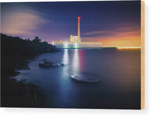 Industrial District Wood Print featuring the photograph Toxic Beach With Power Plant by Hal Bergman