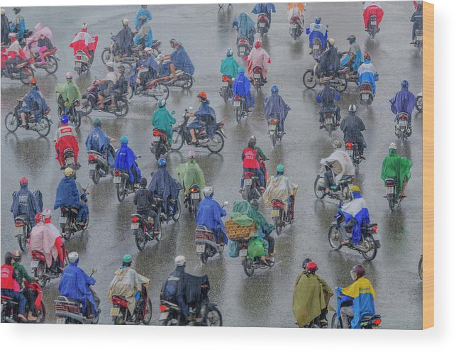 Ho Chi Minh City Wood Print featuring the photograph Traffic In Ho Chi Minh City by Rwp Uk