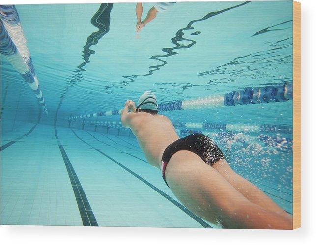 Underwater Wood Print featuring the photograph Underwater Swimmer by David Freund