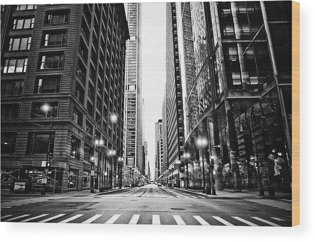 Crosswalk Wood Print featuring the photograph Urban Chicago City Intersection Of by Nicole Kucera