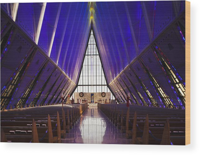 Large Group Of Objects Wood Print featuring the photograph U.s. Air Force Academy, Cadets Chapel by Walter Bibikow