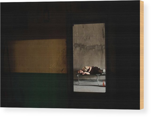 Sand Trap Wood Print featuring the photograph U.s. Army Builds Miltary Outpost In by Chris Hondros