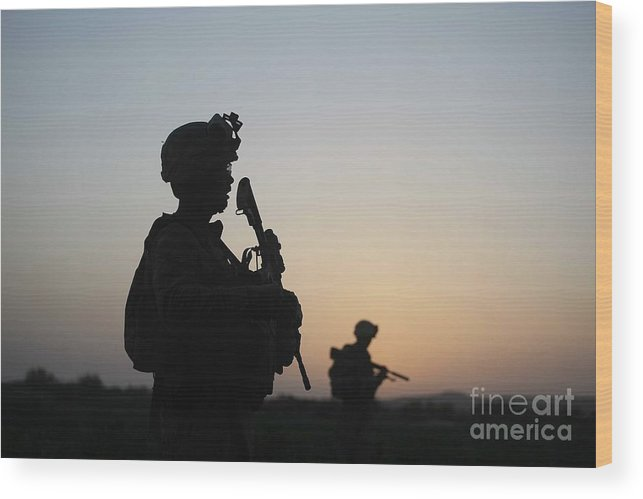 Killing Wood Print featuring the photograph U.s. Marines Continue Suppression by Joe Raedle