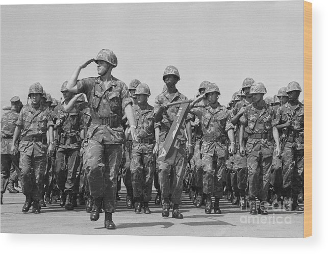 Marching Wood Print featuring the photograph U.s. Marines Marching In Review by Bettmann