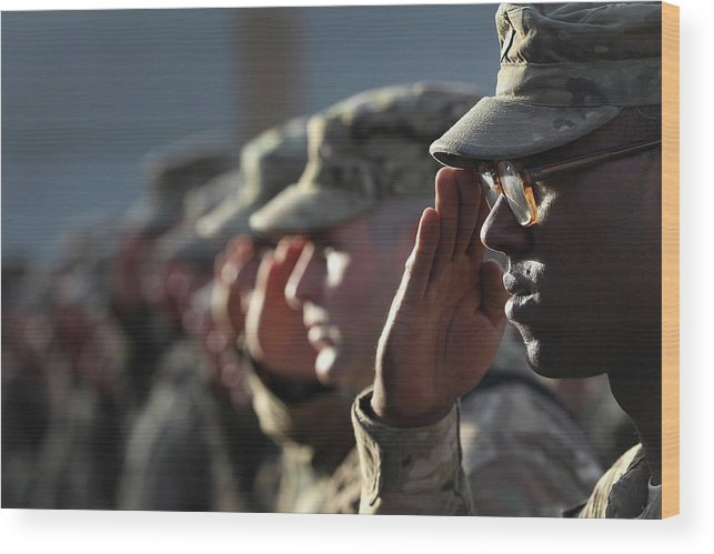 People Wood Print featuring the photograph U.s. Soldiers Commemorate 911 by John Moore