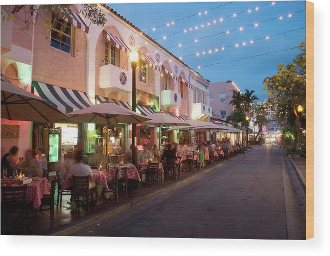 In A Row Wood Print featuring the photograph Usa, Florida, Miami Beach. Restaurant by Buena Vista Images