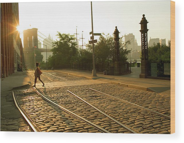 Pedestrian Wood Print featuring the photograph Usa, New York, Brooklyn, Woman Crossing by Maremagnum