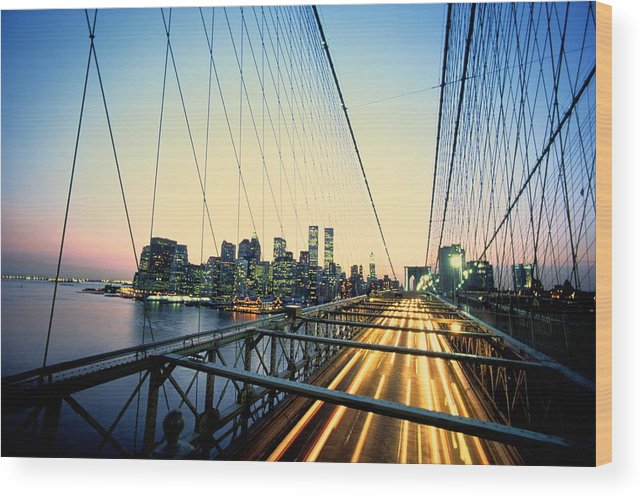 Twin Towers Wood Print featuring the photograph Usa, New York City, Manhattan, View by Paul Radenfeld