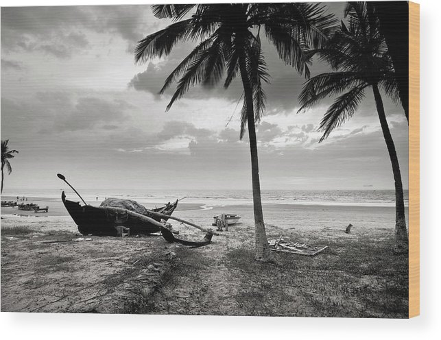 Tranquility Wood Print featuring the photograph Uttorda Beach , Goa, India Fishing Boat by Anoop Negi