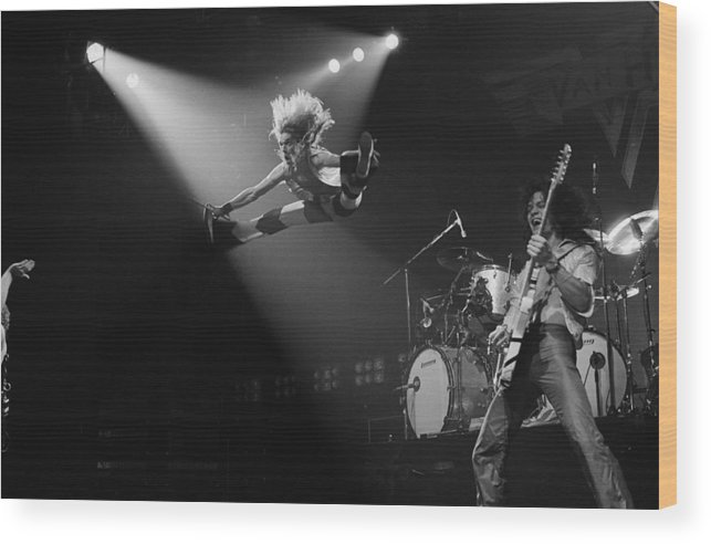 Singer Wood Print featuring the photograph Van Halen At The Rainbow by Fin Costello