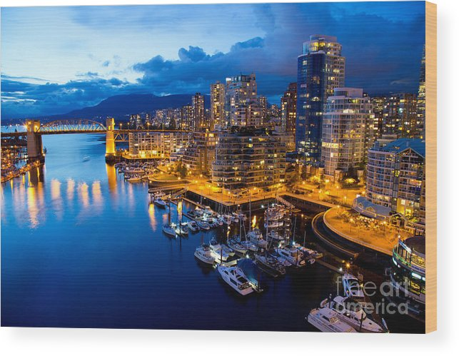 Night View Wood Print featuring the photograph Vancouver Night View by Abesan