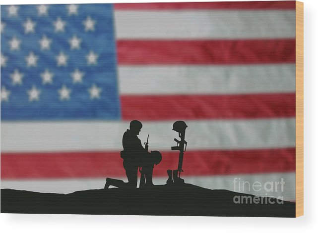 Remembrance Day Wood Print featuring the photograph Veterans Day Soldier by Wwing