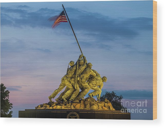 Statue Wood Print featuring the photograph Washington D.c., Us Marine Corp Memorial by Walter Bibikow