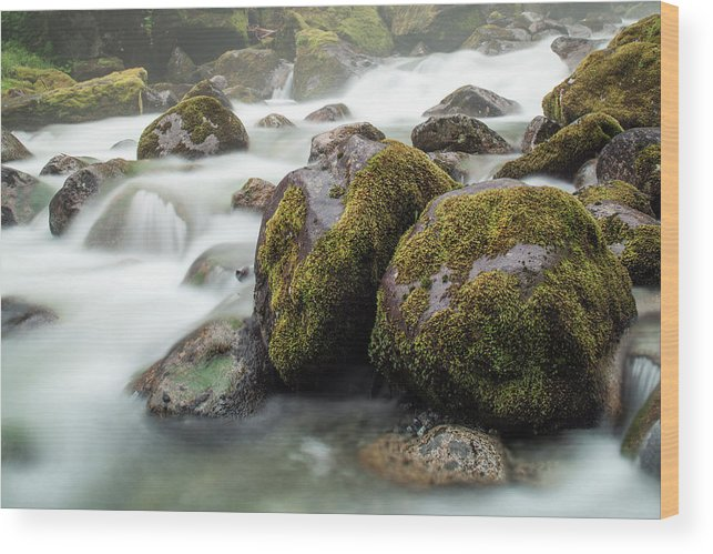 Tranquility Wood Print featuring the photograph Waterfall, Bc, Canada by Paul Souders