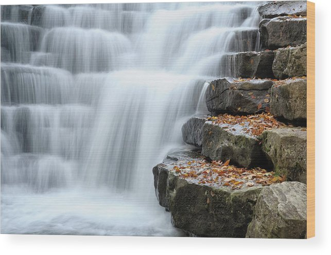 Steps Wood Print featuring the photograph Waterfall Flowing Over Rock Stair by Catnap72