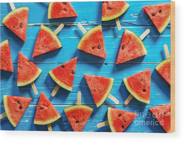 Ice Wood Print featuring the photograph Watermelon Slice Popsicles On A Blue by I Am Kulz