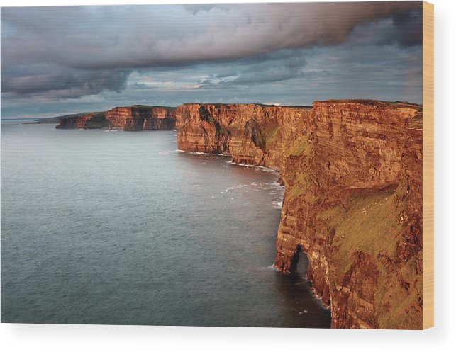Scenics Wood Print featuring the photograph Waves Washing Up On Rocky Cliffs by George Karbus Photography