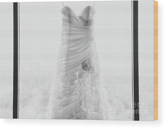 Hanging Wood Print featuring the photograph Wedding Dress In Black Frame by Matt Corkum