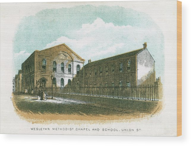 Engraving Wood Print featuring the drawing Wesleyan Methodist Chapel And School by Print Collector