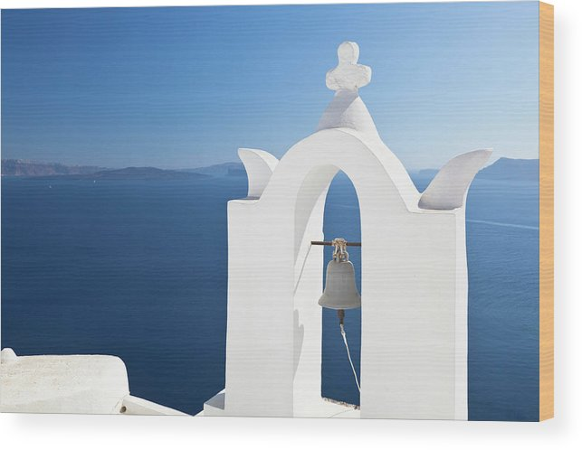 Greek Culture Wood Print featuring the photograph White Bell Tower And Blue Sea by Michaelutech