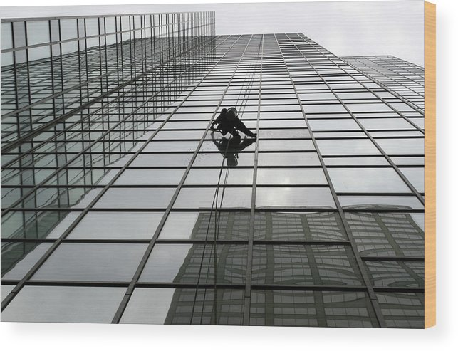 Working Wood Print featuring the photograph Window Washer by Filo