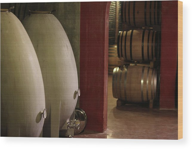Aging Process Wood Print featuring the photograph Wine Cellar by Tom And Steve