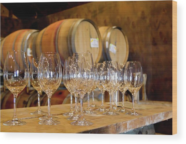 Alcohol Wood Print featuring the photograph Wine Tasting Room by Creativeye99