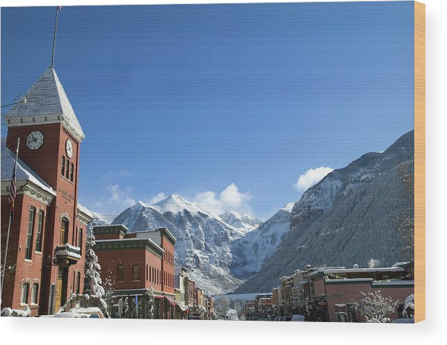 Scenics Wood Print featuring the photograph Winter Telluride Colorado by Dougberry