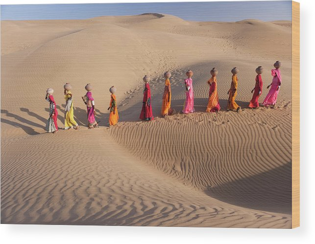 People Wood Print featuring the photograph Women Fetching Water From The Sparse by Mint Images - Art Wolfe