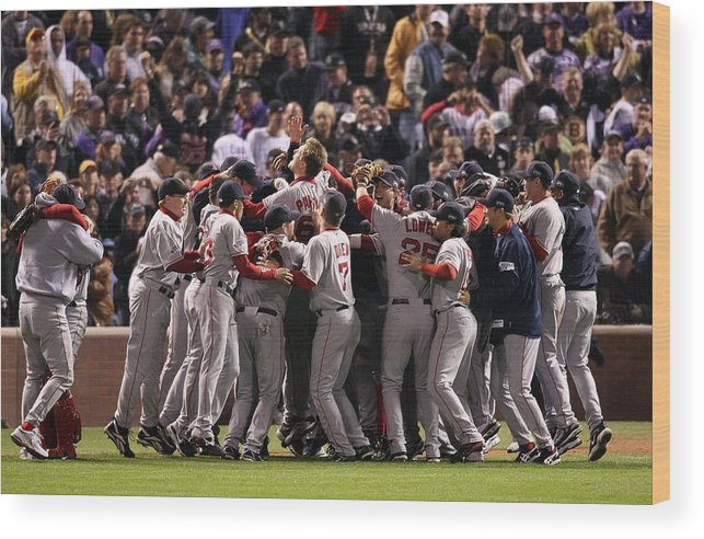 Scoring Wood Print featuring the photograph World Series Boston Red Sox V Colorado by Stephen Dunn