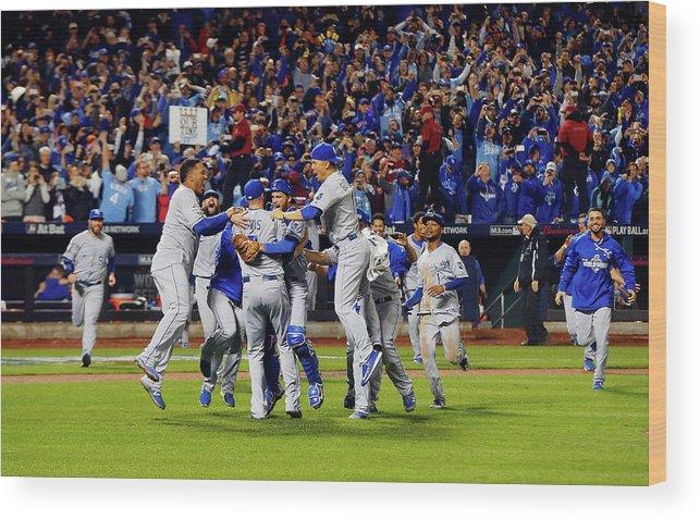 American League Baseball Wood Print featuring the photograph World Series - Kansas City Royals V New by Jim Mcisaac