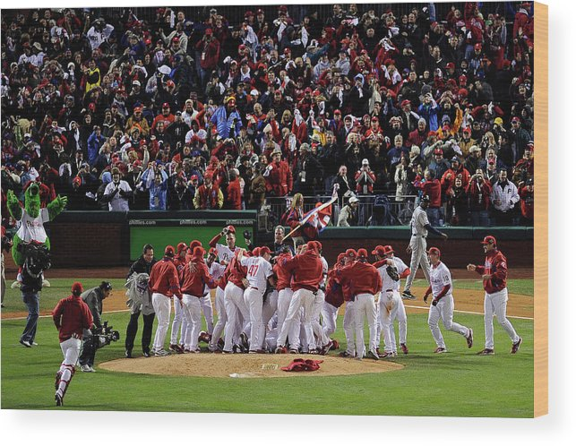 Celebration Wood Print featuring the photograph World Series Tampa Bay Rays V by Jeff Zelevansky