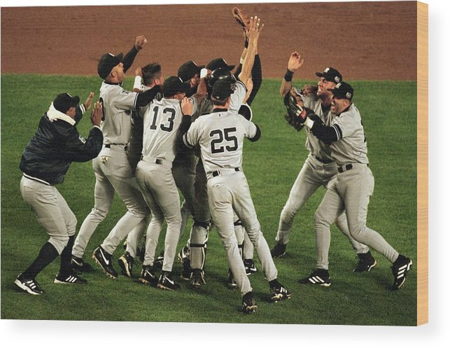 Celebration Wood Print featuring the photograph Yankees Celebrate by Al Bello