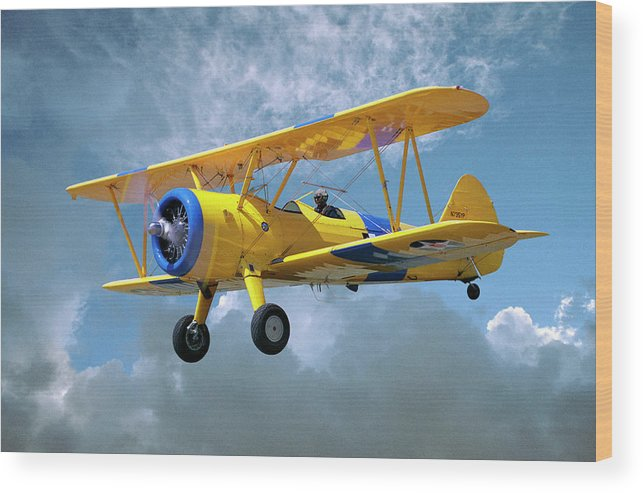 Crop Sprayer Wood Print featuring the photograph Yellow Stearman 5yp Bi-plane Flying In by Diane Miller