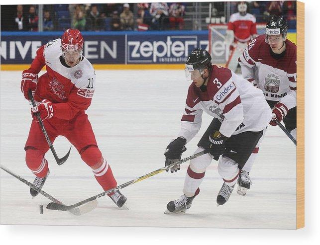 Sport Wood Print featuring the photograph 2016 IIHF Ice Hockey World Championship Group Stage: Denmark vs Latvia by Artyom Korotayev